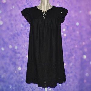 Old Navy Linen Blend Black Dress